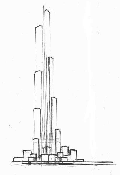 Free coloring pages of burj khalifa dubai for Burj khalifa sketch
